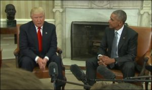 President Obama met Donald Trump on Nov 10 and called on Americans to 'give the new president a chance' (photo on CNN)