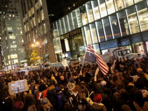 Rally in New York City on Nov 9, 2016 against the politics of Donald Trump
