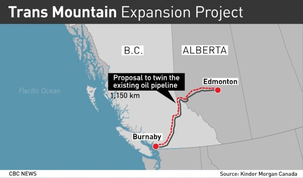 Proposed Trans Mountain Pipeline expansion (map by CBC) - A ... on keystone pipeline map, cochin pipeline map, seaway pipeline map, proposed pipeline map, express pipeline map, yellowstone pipeline map, puget sound pipeline map,