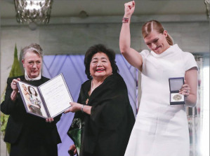In Nobel Peace Prize acceptance speech, Hiroshima survivor Setsuko Thurlow says history will judge harshly those countries rejecting anti-nuclear weapons treaty