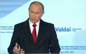 A world between war and peace: Speech by Vladimir Putin to the Valdai Discussion Club, in Sochi, Russia, Oct 22, 2015